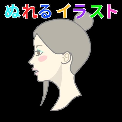 茶髪お団子ヘアの女性の無料イラスト素材 塗れる Nureyon